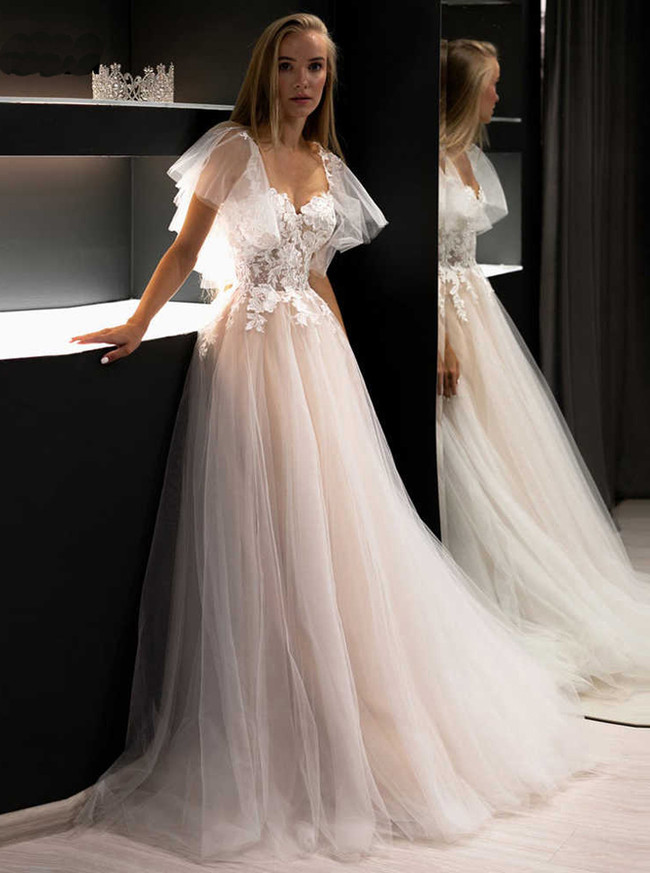 A-line Wedding Dress with Flutter Sleeves,Tulle Bridal Dress with Champagne Lining,12206