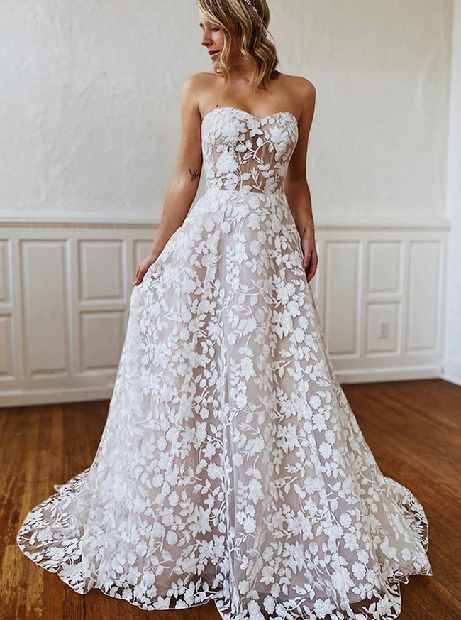 A-line Lace Wedding Dress,Boho Strapless Bridal Dress,12210