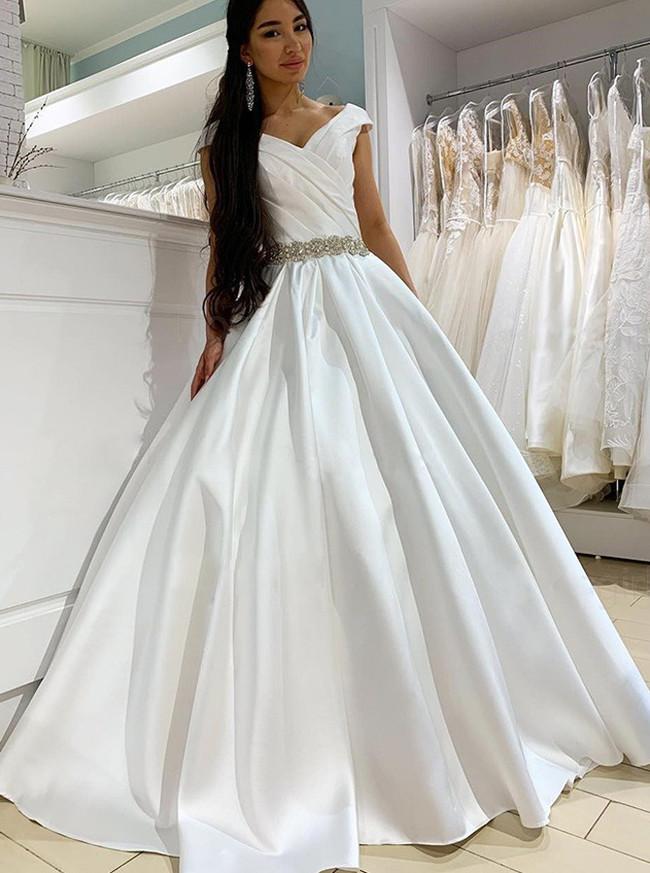 A-line Off the Shoulder bridal Dress,Satin Bridal Dress with Beaded Belt,12212