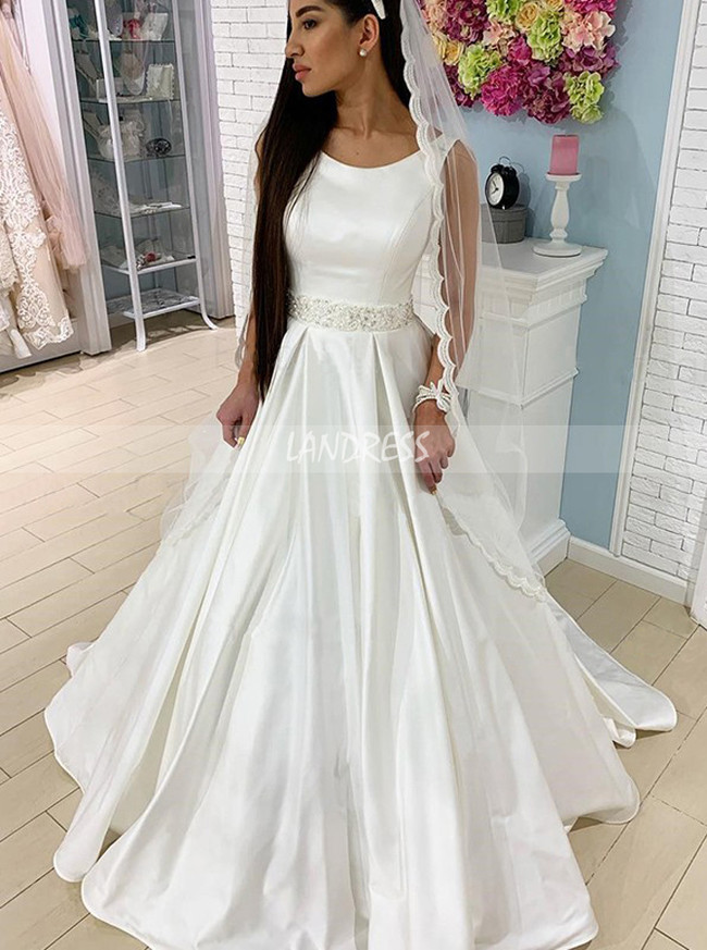 A-line Satin Wedding Dress,Simple Bridal Gown,12213