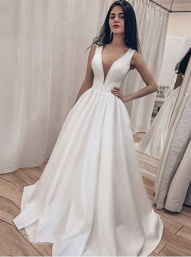 Simple Satin Wedding Dress,A-line Bridal Dress with V-neck