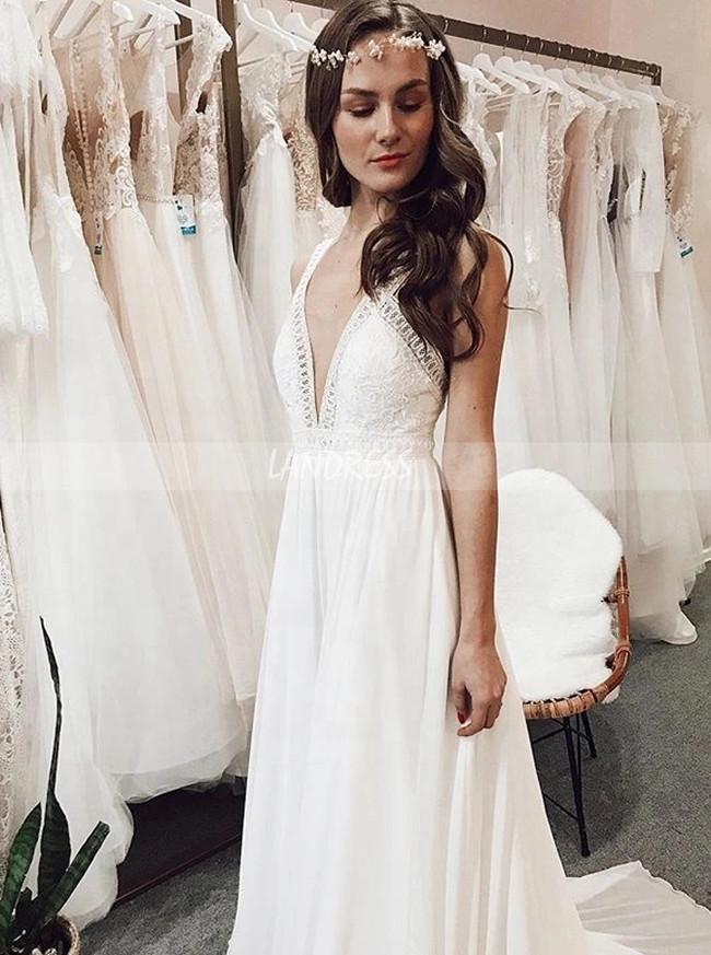 Boho Chiffon Wedding Dress,Beach Wedding Dress with Straps,12215