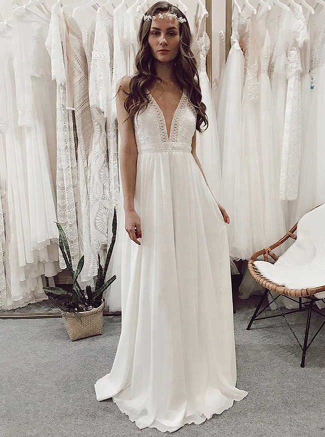 Boho Chiffon Wedding Dress,Beach Wedding Dress with Straps,12215