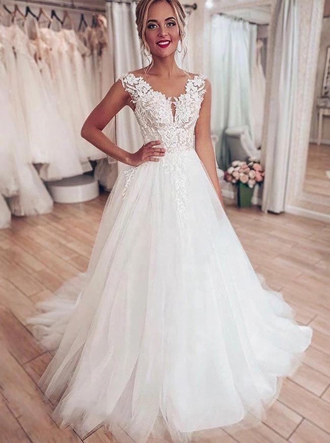 A-line Bridal Dress with Tulle Skirt,Garden Wedding Dress,12218