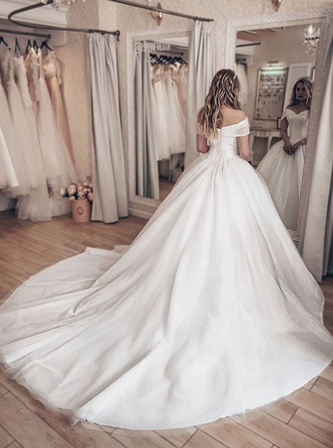 Luxurious Princess Bridal Dress,Off the Shoulder Crystal Ball Gown Dress,12220