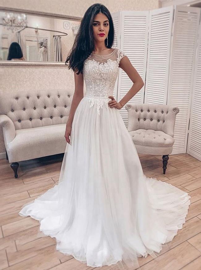 A-line Wedding Dress,Garden Bridal Dress,12221