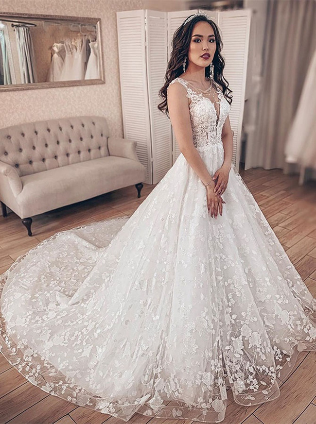 Princess Lace Wedding Dress,Stunning Bridal Gown,12222