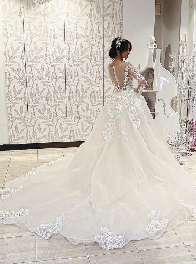 Long Sleeves Lace Bridal Dress with OverSkirt,12224