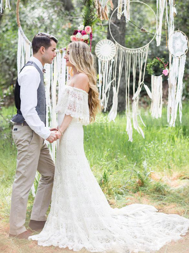 Bohemian Lace Wedding Dress,Off the Shoulder Bridal Dress for Outdoor Wedding,12225