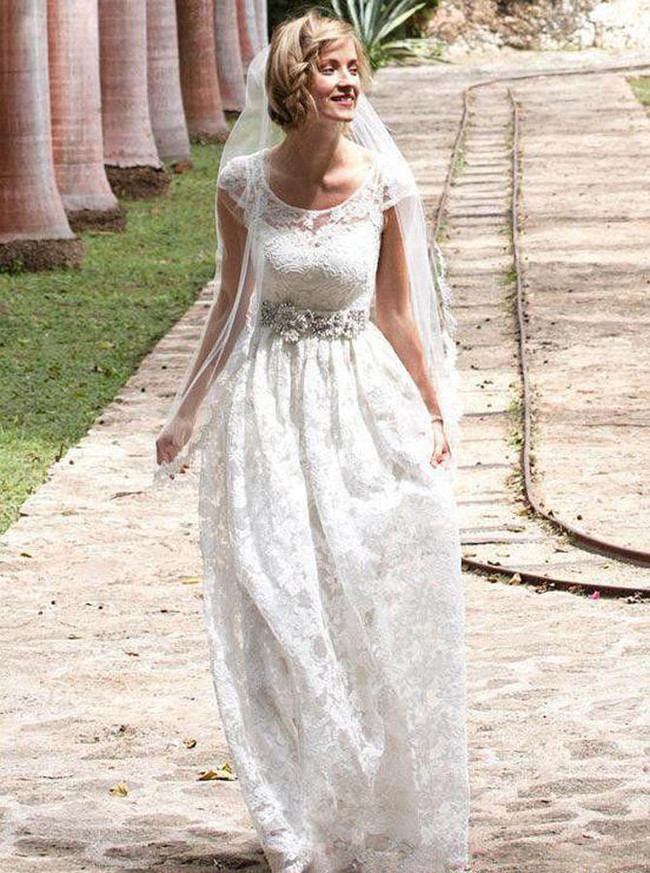 Vintage Lace Wedding Dress with Cap Sleeves,Modest Floor Length Bridal Dress,12226