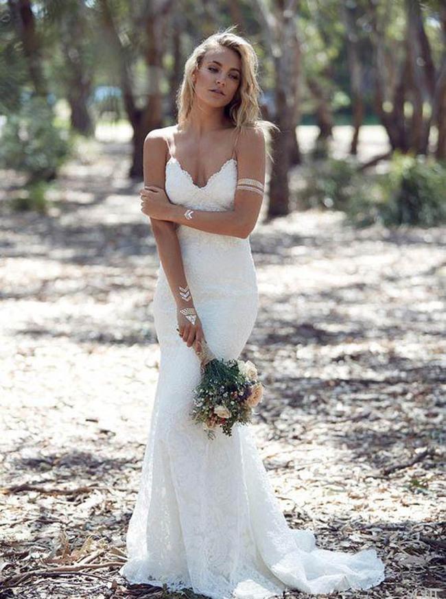 Bohemian Lace Wedding Dress,Open Back Spaghetti Straps Wedding Dress,12228