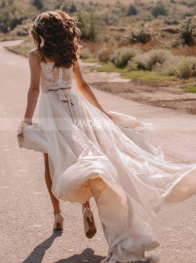 Two Piece Beach Wedding Dress with Slit,Bohemian Wedding Dress,12230