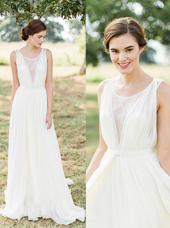 Ivory Chiffon Beach Wedding Dress,Simple Garden Wedding Dress,12231