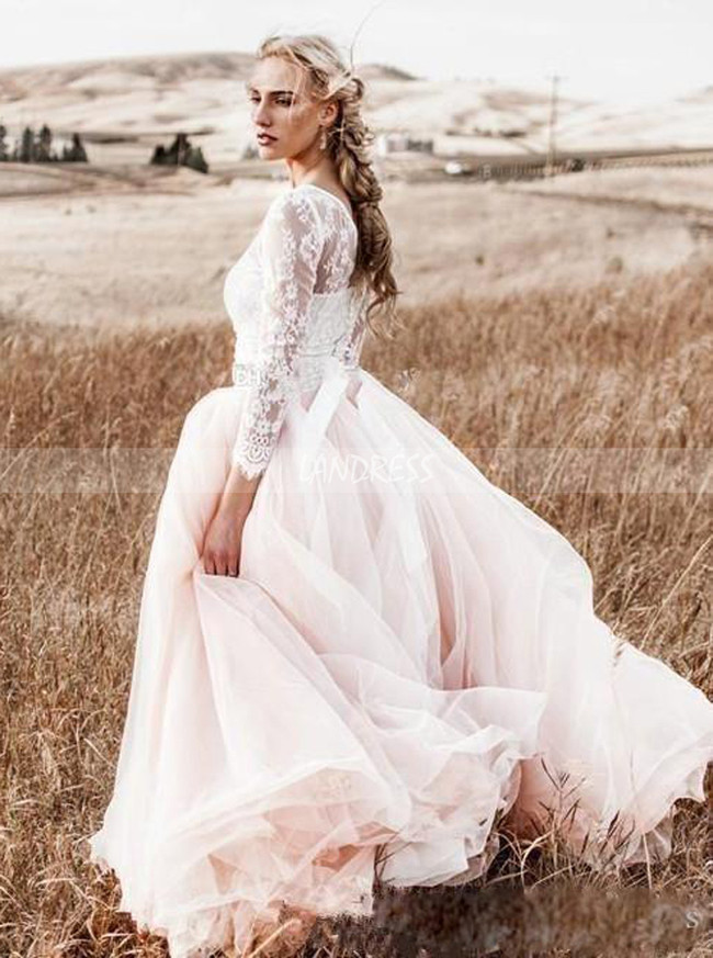 Blushing Pink Two Piece Outdoor Wedding Dress,A-line Wedding Dress for Engagement Pictures,12233