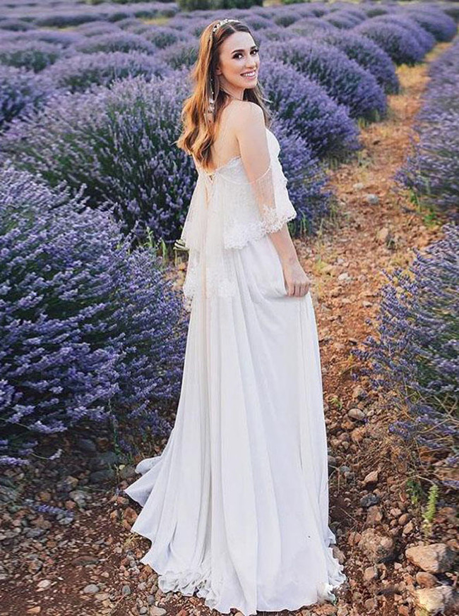 Simple Beach Wedding Dress with Chiffon Skirt,Summer Bridal Dress with Off the Shoulder Sleeves,12234