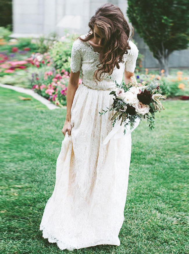 Vintage Lace Wedding Dress with Short Sleeves,Modest Bridal Dress with Beaded Belt,12237