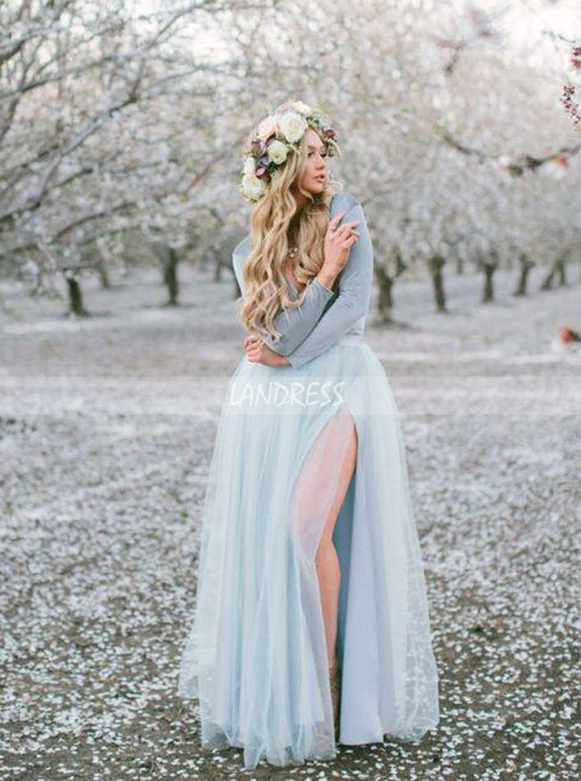 Long Sleeve Dress for Engagement Shoot,Light Blue Dress with Slit,12238