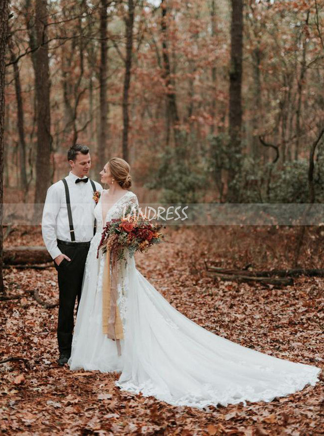 See Through A-line Bridal Dress with Sleeves,Fall Bridal Dress for Wedding Photo Shoot,12240
