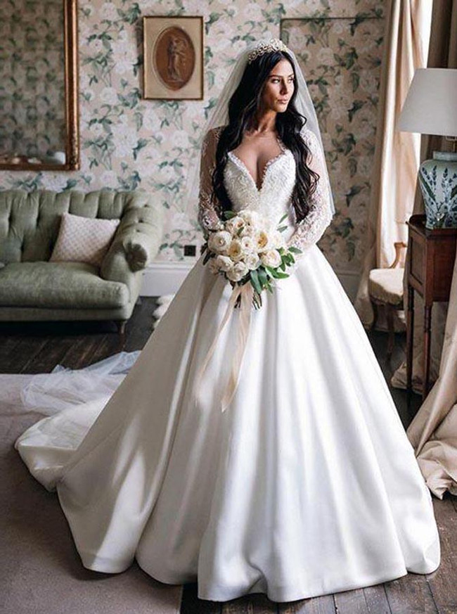 A-line Classic Wedding Dress with Sleeves,Vintage Satin Bridal Gown,12242