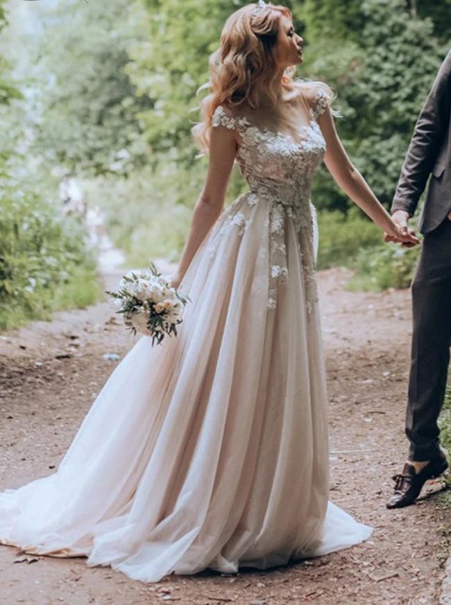 Princess Wedding Dress with Cap Sleeves,Romantic Bridal Dress,12243