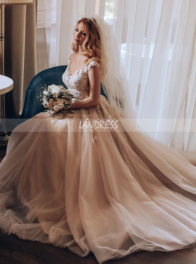 Princess Wedding Dress with Cap Sleeves,Romantic Bridal Dress,12243