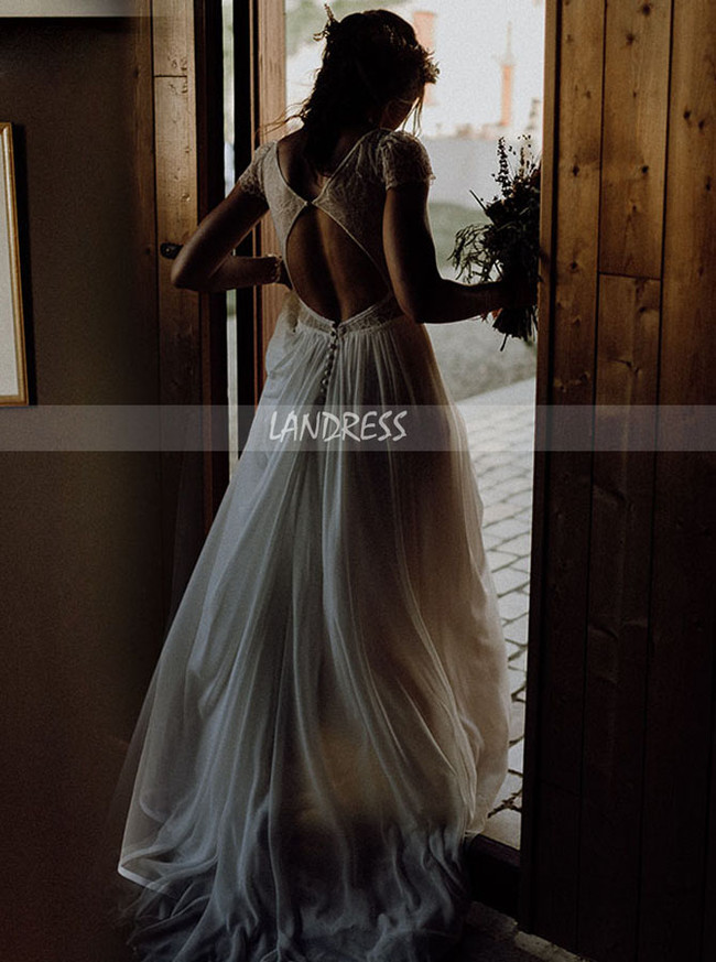 Boho Chiffon Wedding Dress Cutout Back,Simple Beach Bridal Dress Sweep Train,12244