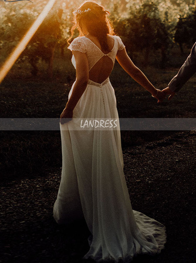 Boho Chiffon Wedding Dress Cutout Back,Simple Beach Bridal Dress Sweep Train,12244