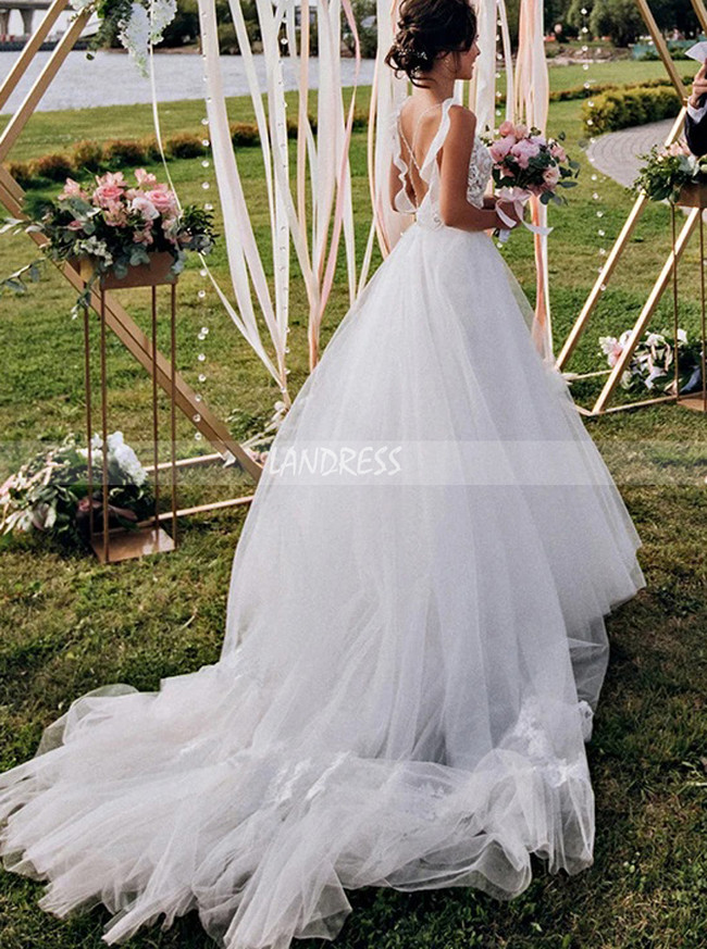 Stunning A-line Bridal Dress with Straps,Boho Wedding Dress,12245