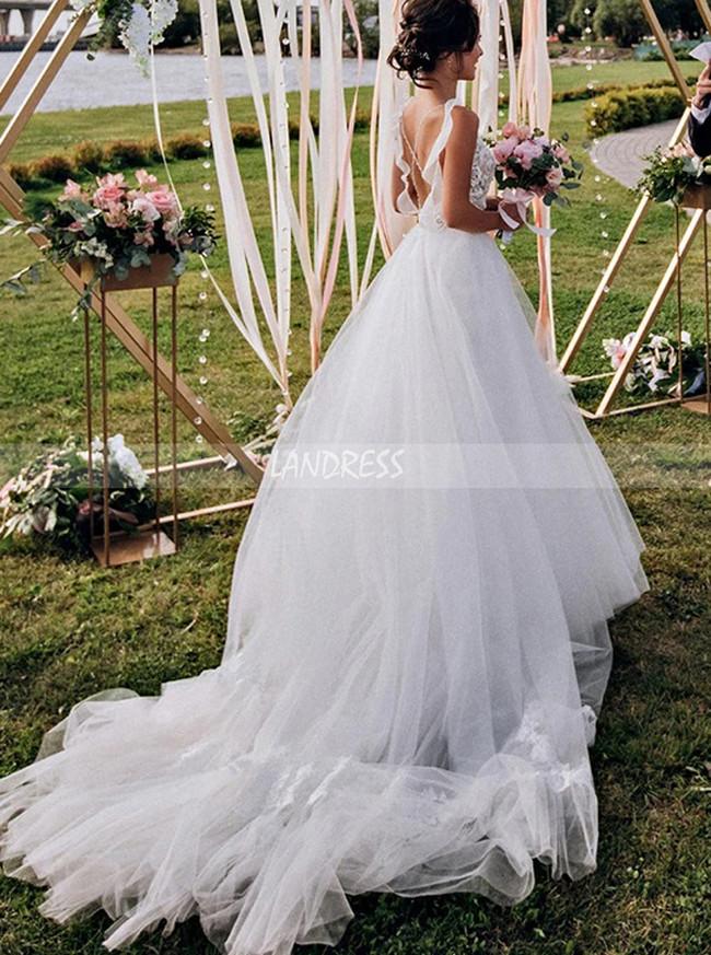 Stunning A-line Bridal Dress with Straps,Boho Wedding Dress,12245