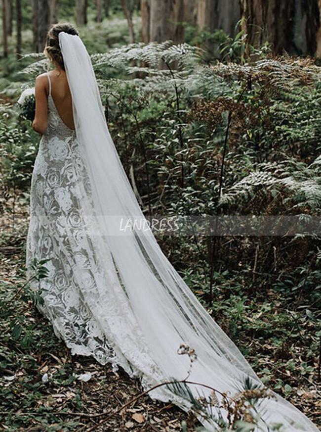 Romantic Bohemian Lace Bridal Dress,12248