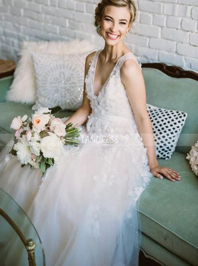 Floral A-line V-neck Wedding Dress,Wedding Reception Dress,12249