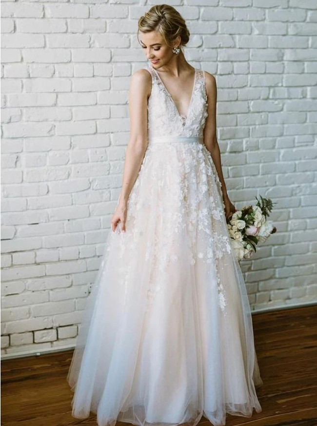 Floral A-line V-neck Wedding Dress,Wedding Reception Dress,12249