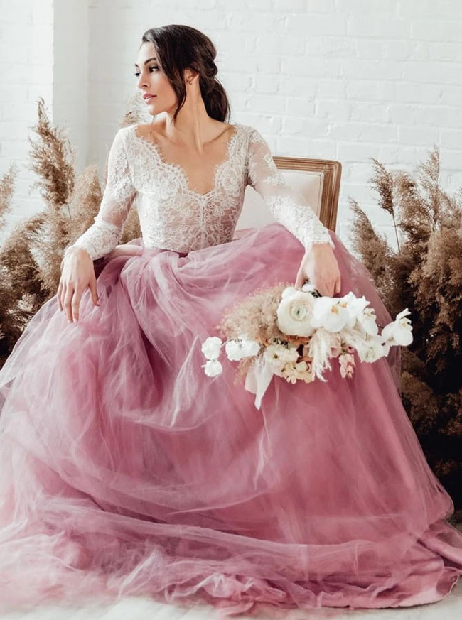 Two Piece Long Sleeves Lace Bodice with Tulle Skirt,12250