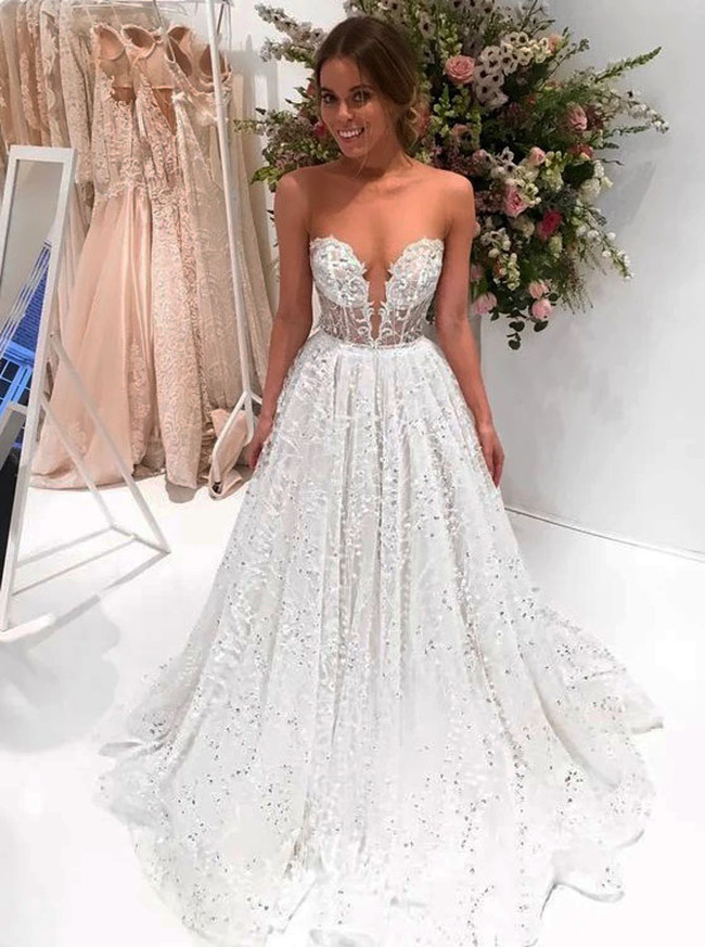 See Through Sequin Lace Bridal Dress,12251