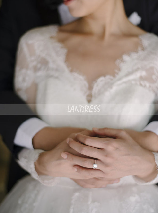 Classic Wedding Dress with Sleeves,Princess Bridal Gown,12252