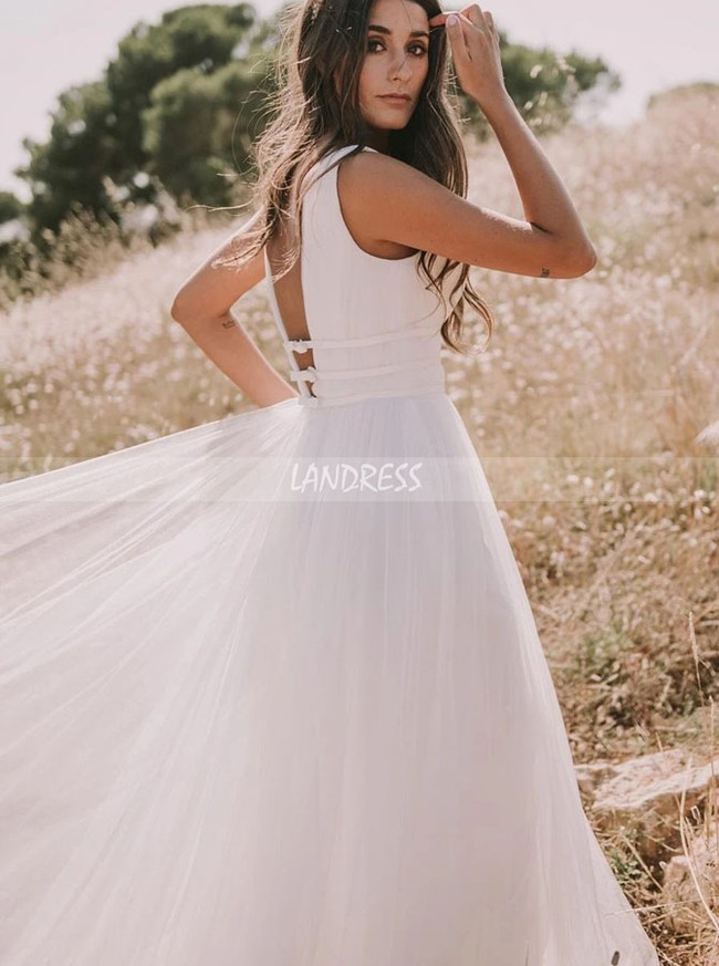 Simple Tulle Wedding Dress,Casual Bridal Dress,12256