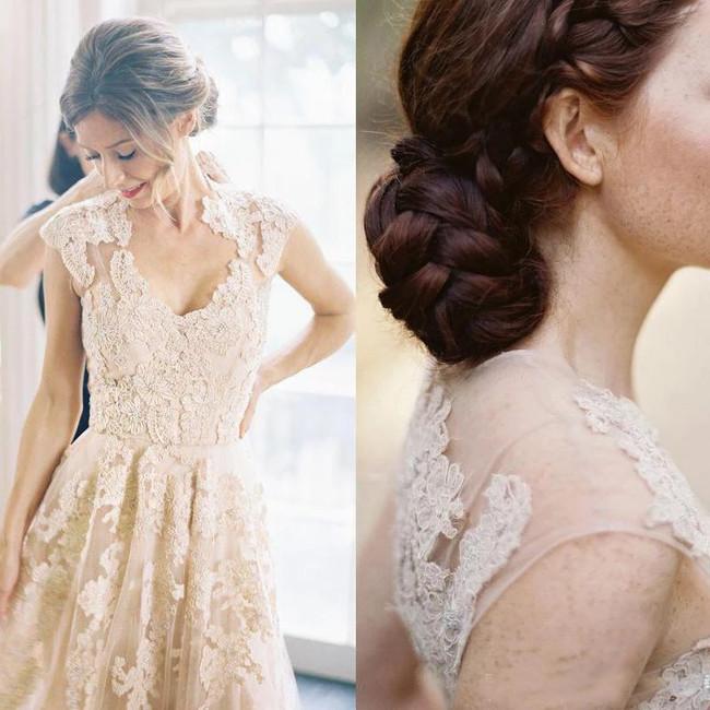 A-line Champagne Elegant Bridal Dress V-neck,12257
