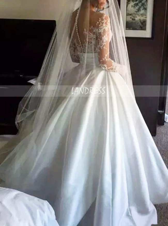 2 in 1 A-line Lace Bridal Gown,Long Sleeves Princess Wedding Gown,12258