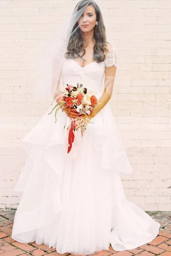 Princess Beaded Cap Sleeves Bridal Gown,Elegant Wedding Dress,12259