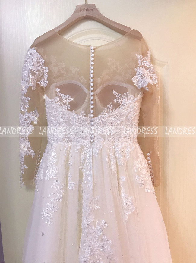 Luxurious Bridal Gown with Sleeves,Elegant Wedding Dress,12260
