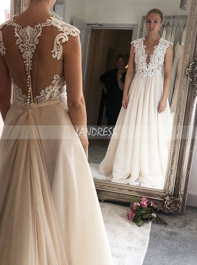 Champagne Aline Wedding Dress with Pockets,See Through Bridal Gown,12261