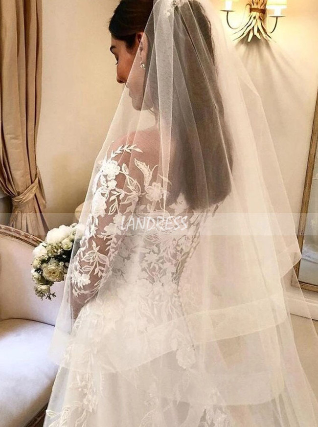Long Sleeves A-line Bridal Gown with Floral Embroidery Lace,12263