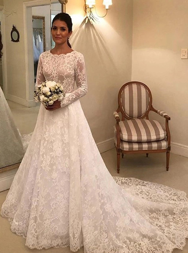 Modest Lace Wedding Dress,Vintage Long Sleeves Bridal Dress,12265