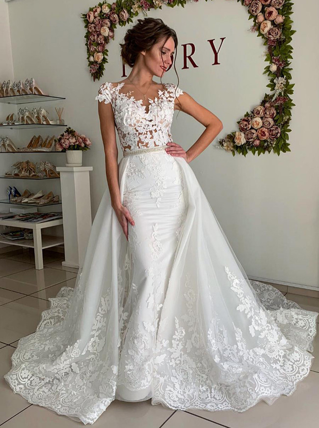 2 in 1 Stylish Wedding Dress,Form-fitting Bridal Dress,12267