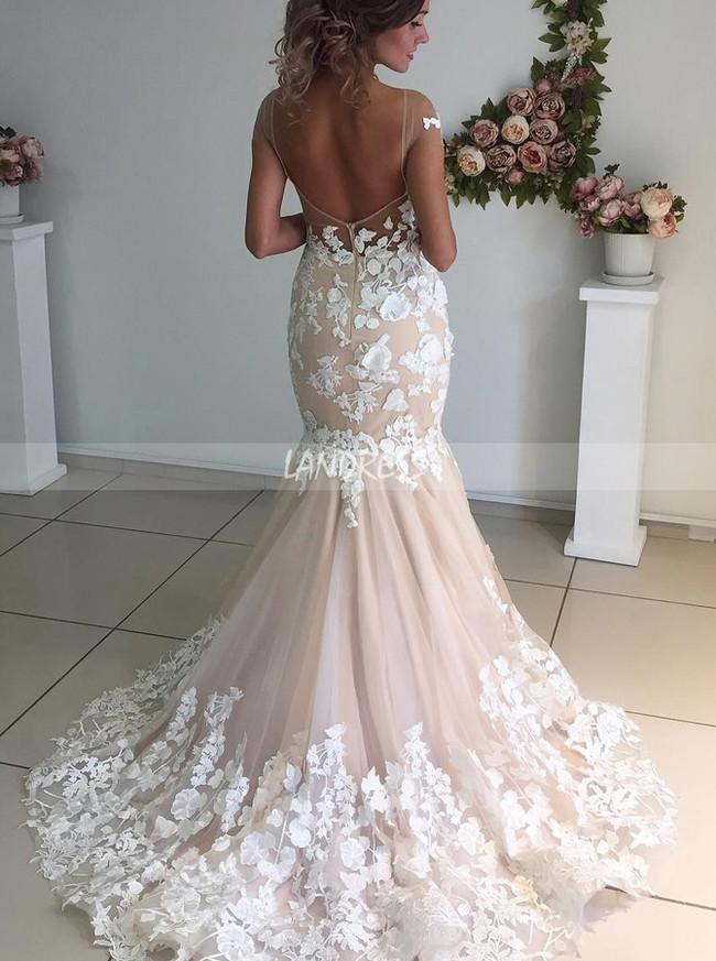 Mermaid See Through Cap Sleeves Wedding Dress Open Back,12268