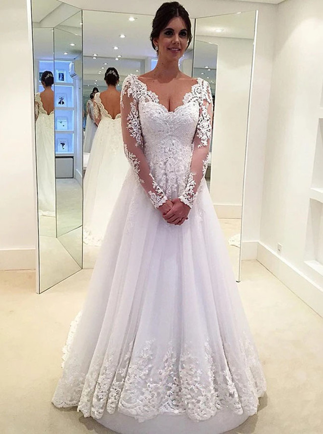 A-line V-neck Long Sleeves Wedding Dress,12270