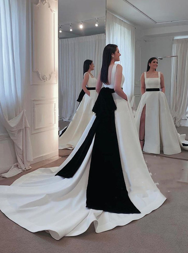 A-line Satin Bridal Dress with Black Belt,Modern Wedding Dress with Pockets,12272