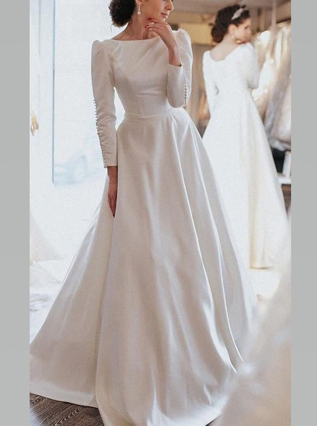 Vintage Long Sleeve Wedding Dress,Modest Soft Satin Bridal Dress,12273