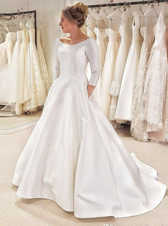 Long Sleeves A-line Satin Bridal Dress with Pockets,12274