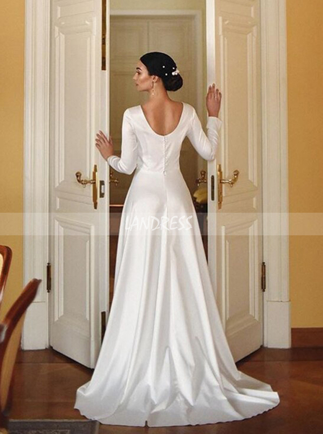 Modest Soft Satin Wedding Dress with Long Sleeves,12276